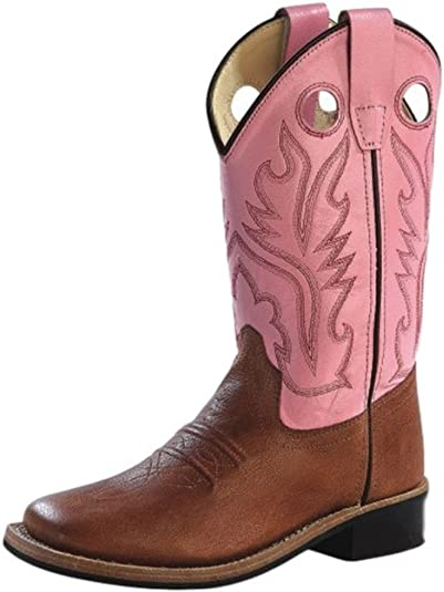 Old West Pink Childrens Girls Carona Calf Leather Square Toe Cowboy Boots