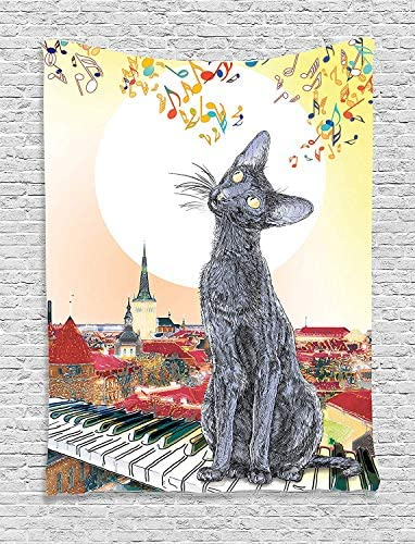 Ambesonne Cat Tapestry, City Skyline with Moonlight Kitty Singing on Roof Music Notes and Piano in The Night, Wall Hanging for Bedroom Living Room Dorm Decor, 40 X 60 , Paprika Cream