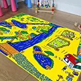 Champion Rugs Kids / Baby Room Area Rug. Zoo. Animals. Zebra. Monkey. Lions. Bright Colorfun Vibrant Colors (3 Ft X 5 Ft)