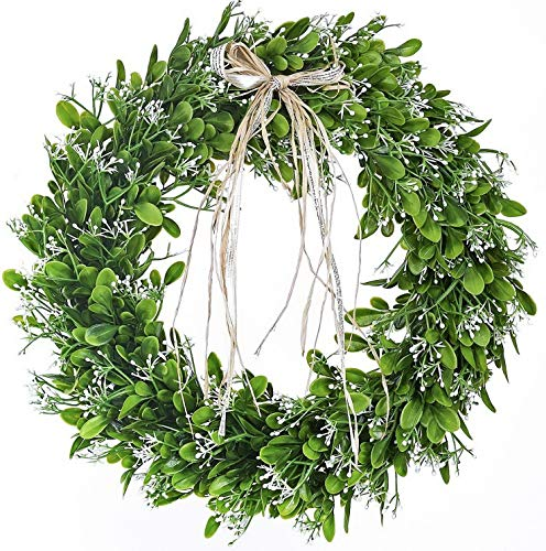 - Gatton 16 inch Artificial Green Leaf Wreath with Bow Spring Front Door Wreath Greenery Garland Home Office Wall ding Decor | Model WDDNG - 2432 |