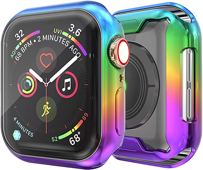 JZK Apple Watch Series 6 44mm Screen Protector,iWatch Protective Case Soft Plated TPU All-Around Ultra-Thin Bumper Cover for Apple Watch Series 6/SE Series 5/4 44mm Nike+,Edition Accessories