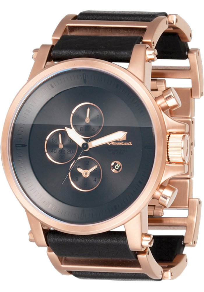 Vestal Men's PLE035 Plexi Rosegold with Black Leather Watch