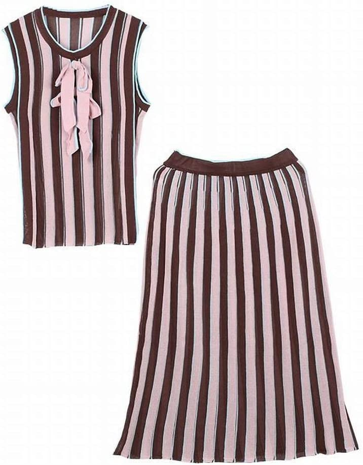 Good dress Set Stripe Bloque de Color Bow Sleeve Knit Top + Midi Skirt Conjunto de Dos Piezas, Rosado, l