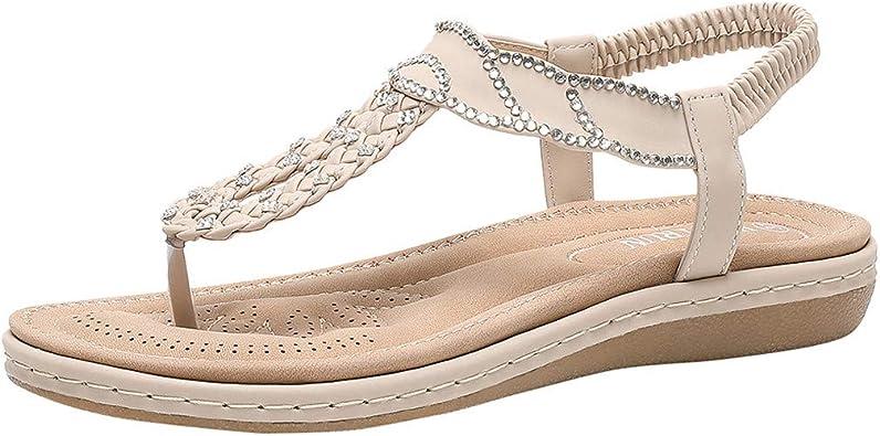 Sandales Femmes Plates, Chaussures Été Nu Pieds à Talons