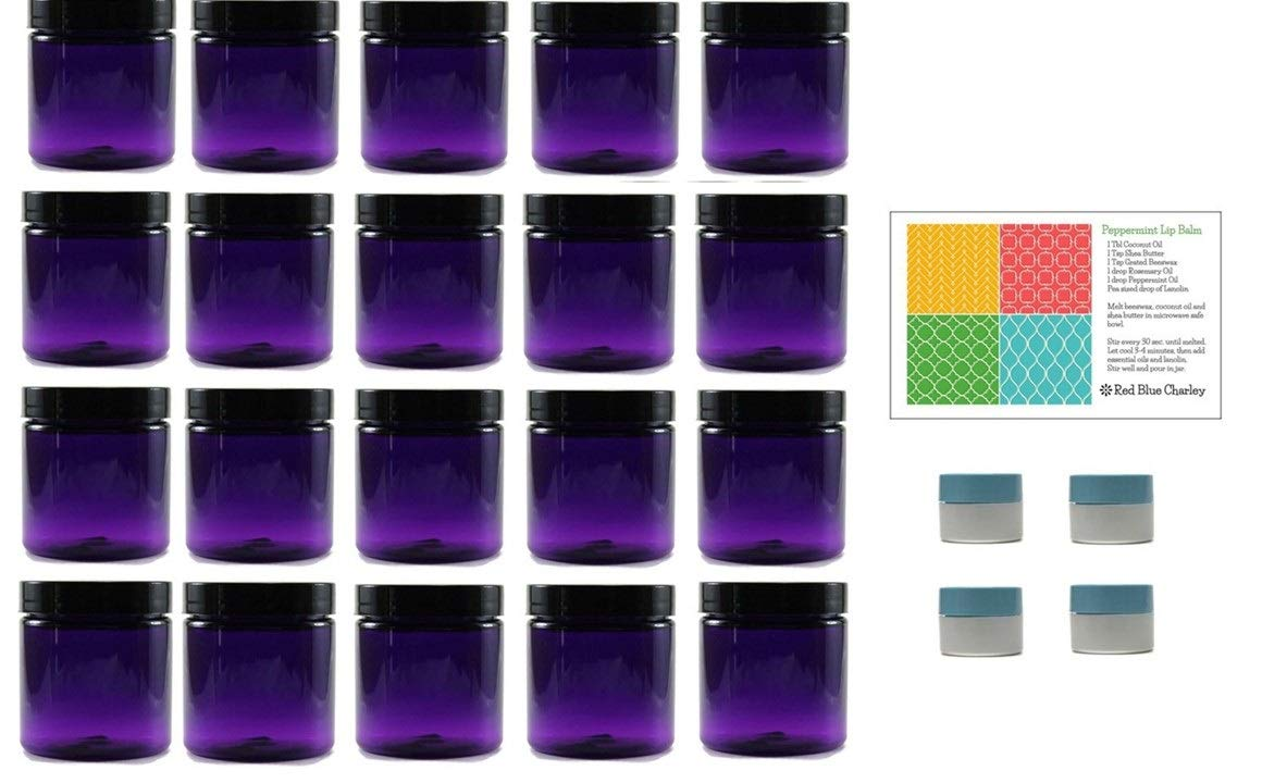 Purple 8 oz Plastic Jars with Black Lids (20 pk) with Mini Jars - PET Round Refillable Containers