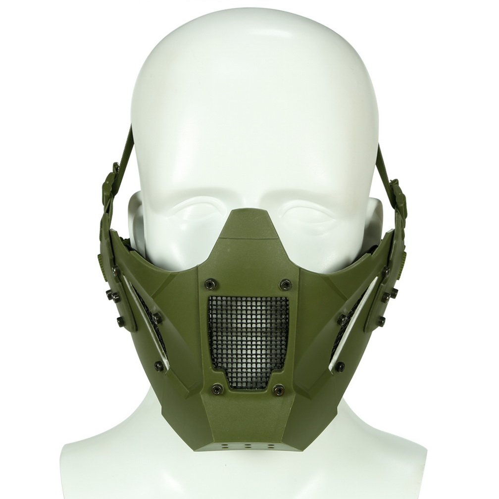 Simways Half Face Lower Mask Mesh Tactical Metal Steel Mask, Can Work with Fast Helmet, Used for Airsoft Paintball Hunting Shooting (Green) by Simways