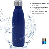 SunbaYouth 17oz Double Wall Insulated Water Bottle Stainless Steel Water Bottle Metal Sports Water Bottle