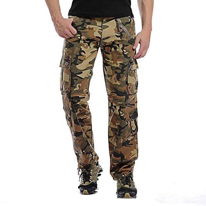 defea2ed9 Pantalón para Hombre, Moda Hombres Casual al Aire Libre botón Multi ...