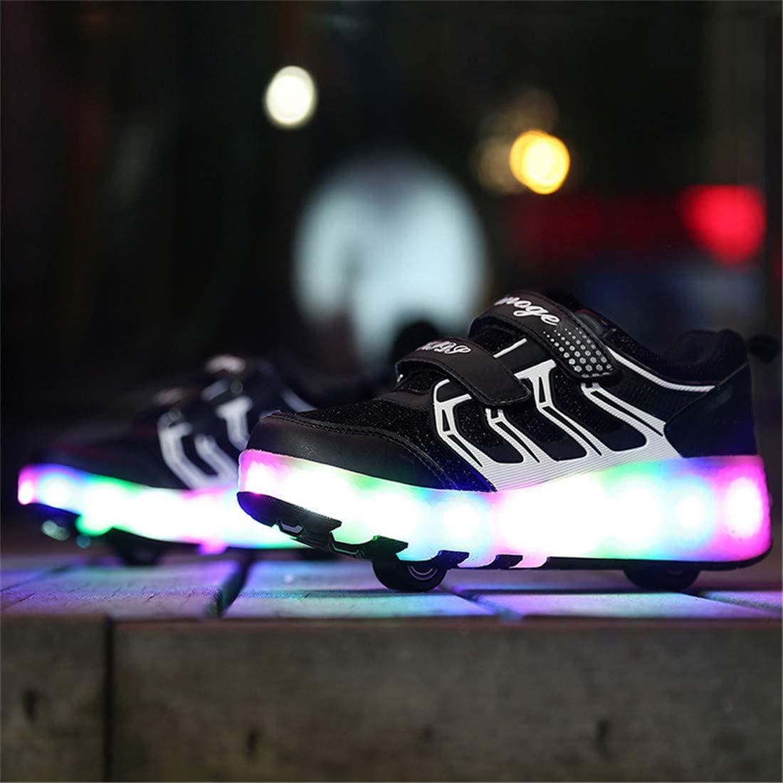 llh Led Double Wheels Roller Skate Shoes,Boys Girls Flashing Luminous Skates Retractable Skateboarding Rollerblades Outdoor Adjustable Sports Cross Trainers With USB Charging,Grey-30