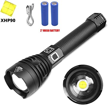 200000LM XHP90 Super Bright LED Torch Flashlight Tactical Zoomable Rechargeable