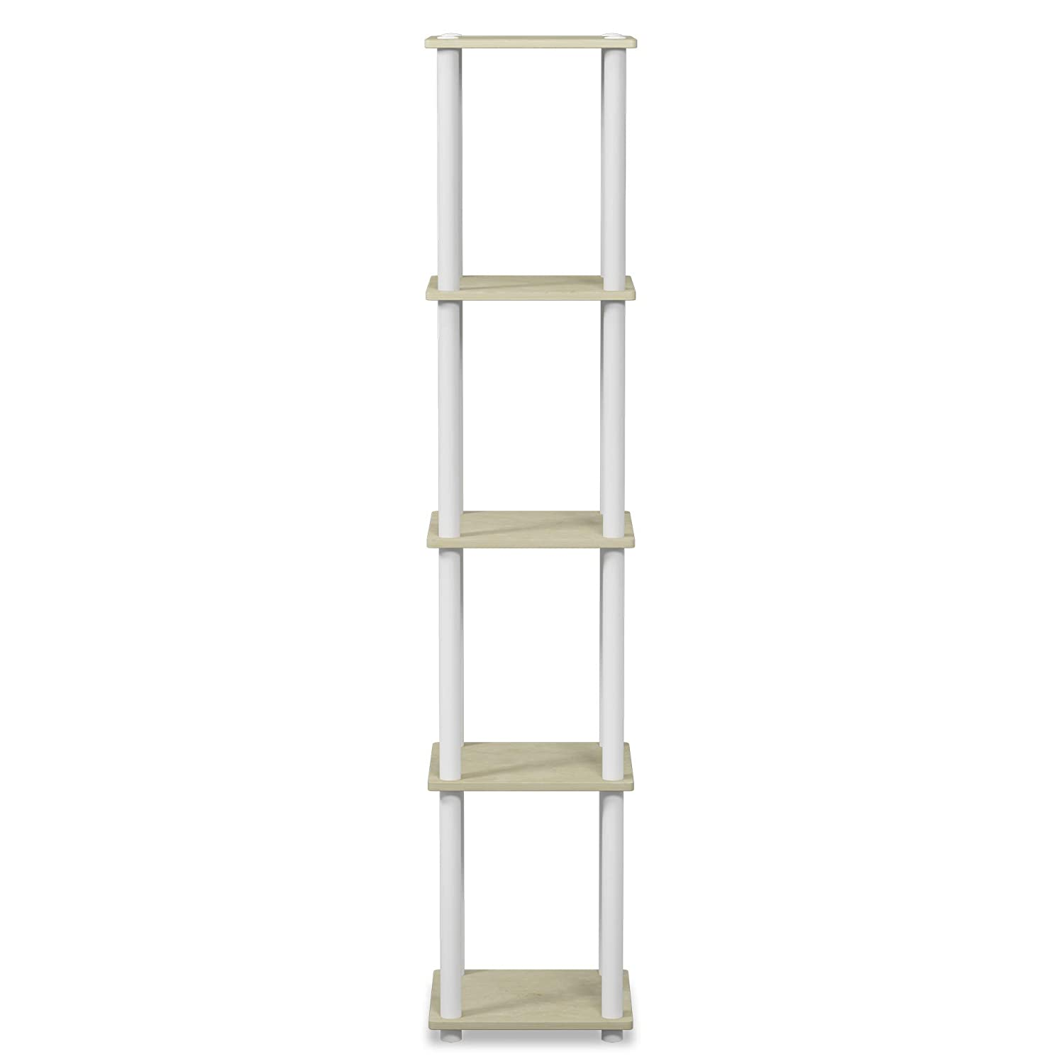 FURINNO Turn-N-Tube 5-Tier Corner Square Rack Display Shelf, Round, Cream Faux Marble White