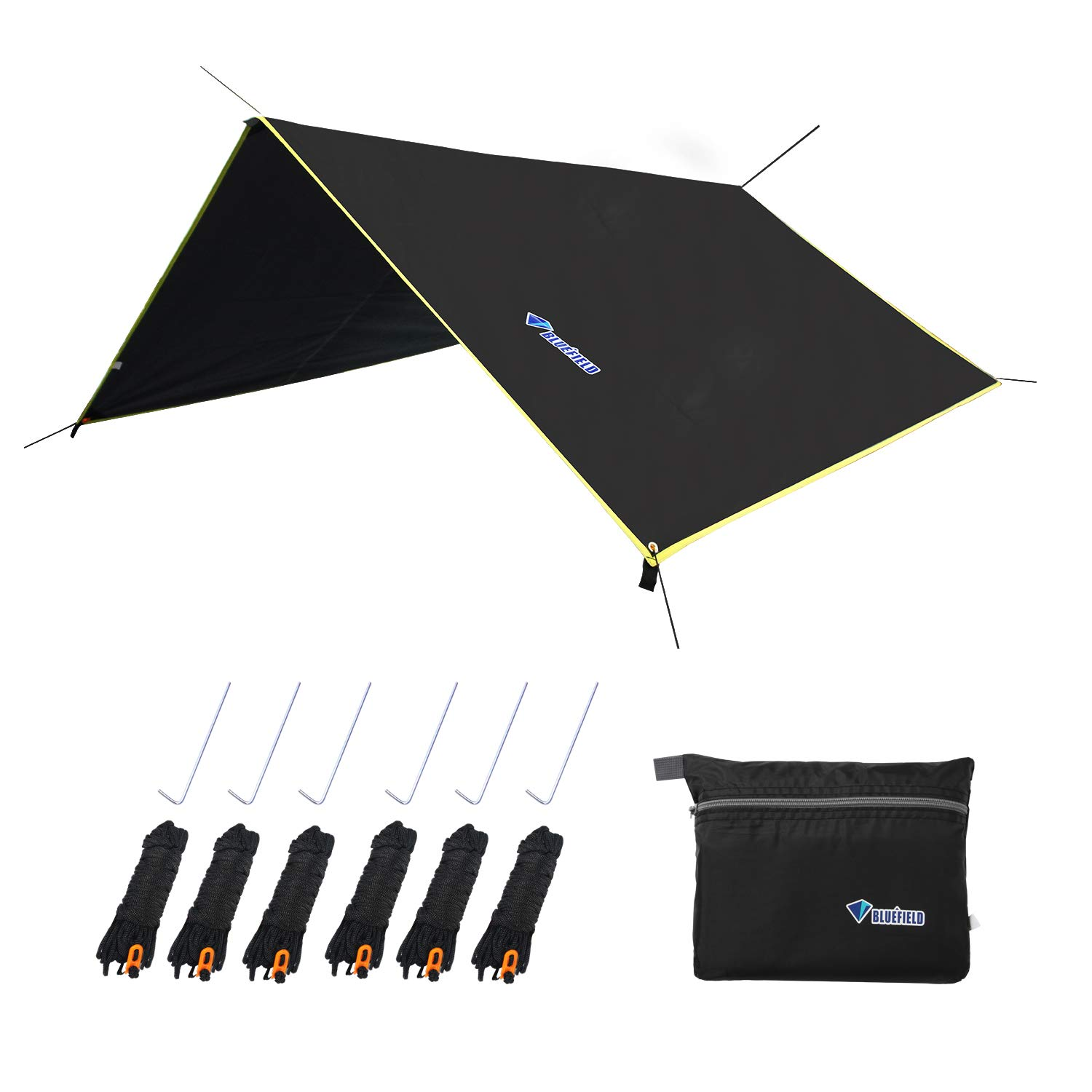LLY Lightweight Hammock Sun/Rain Tarp Shelter Shade Tent Tarp with Stakes and Ropes for Camping Backpacking Fishing (94'' x 86'' Black) by LLY