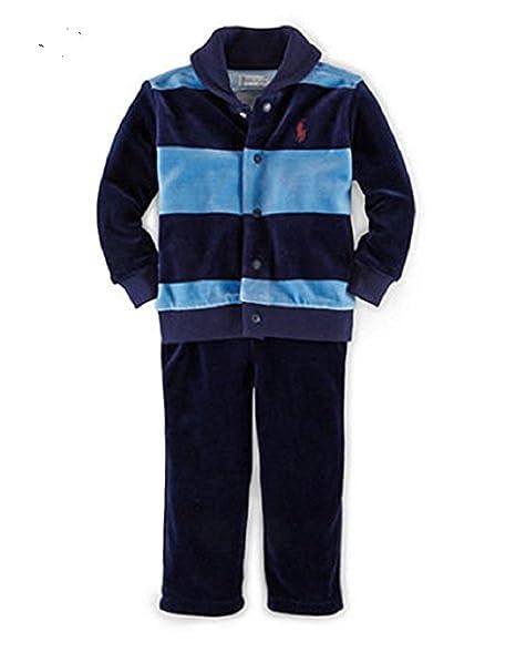 97411e67e679 Ralph Lauren Baby Boys  Striped Velour Set (3 Months Northern Sky ...