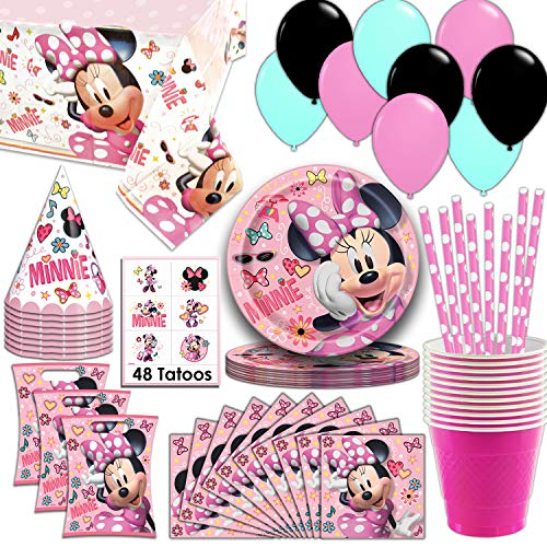 Minnie Mouse Party Supplies, Serves 16 - Plates, Napkins, Tablecloth, Cups, Straws, Balloons, Loot Bags, Tattoos, Birthday Hats - Full Tableware, Decorations, Favors for]()