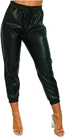 Crazy Girls Women Wet Look Faux Leather Trousers Ladies PU PVC Shiny Paper Bag Cuffed Jogging Bottom Pant Joggers