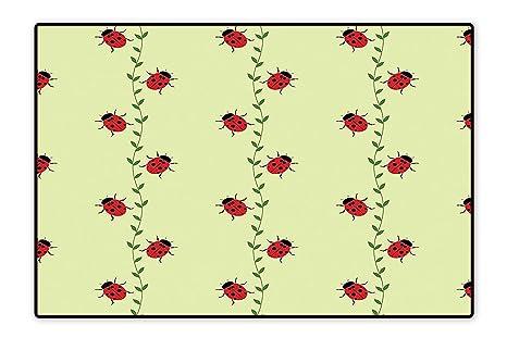 Amazon.com: Alfombras de baño Ladybugs Flores Verano Jardín ...