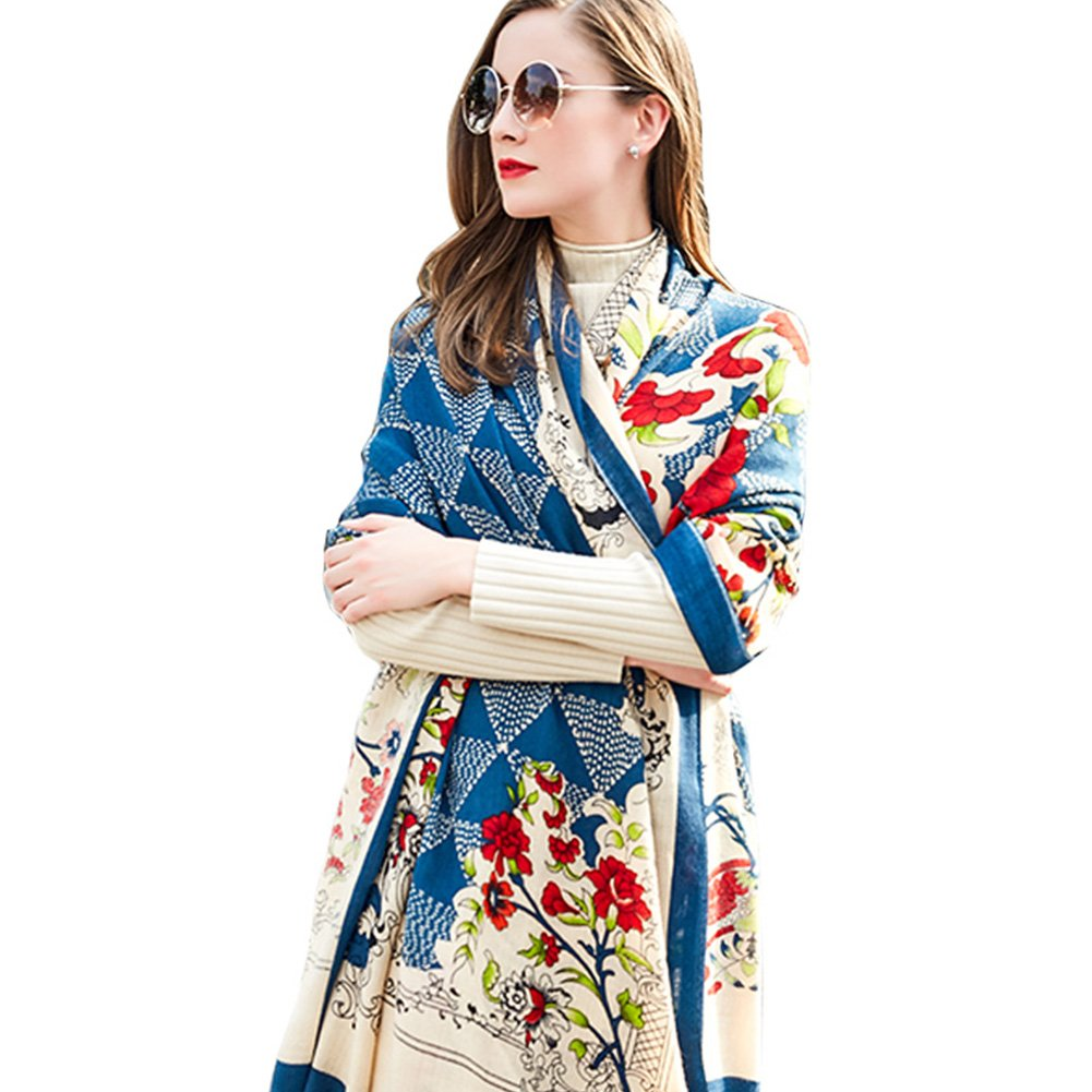 Deep bluee DANA XU Pure Wool Ponchos Blanket for Women Large Pashmina Shawls and Wraps (Watermelon red)