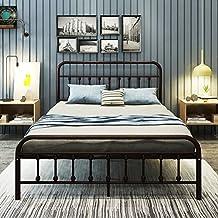 Metal Bed Frame Queen Size Platform with Vintage Headboard and Footboard Sturdy Metal Frame PremiumSteel Slat Support Bronze