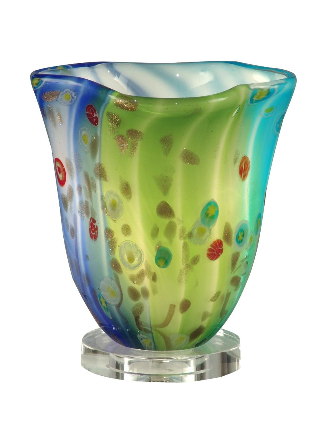 """Diva At Home 9.5"""" Lime Green, Aqua, and Blue Morgan Hand Blown Glass Accent Lamp"""
