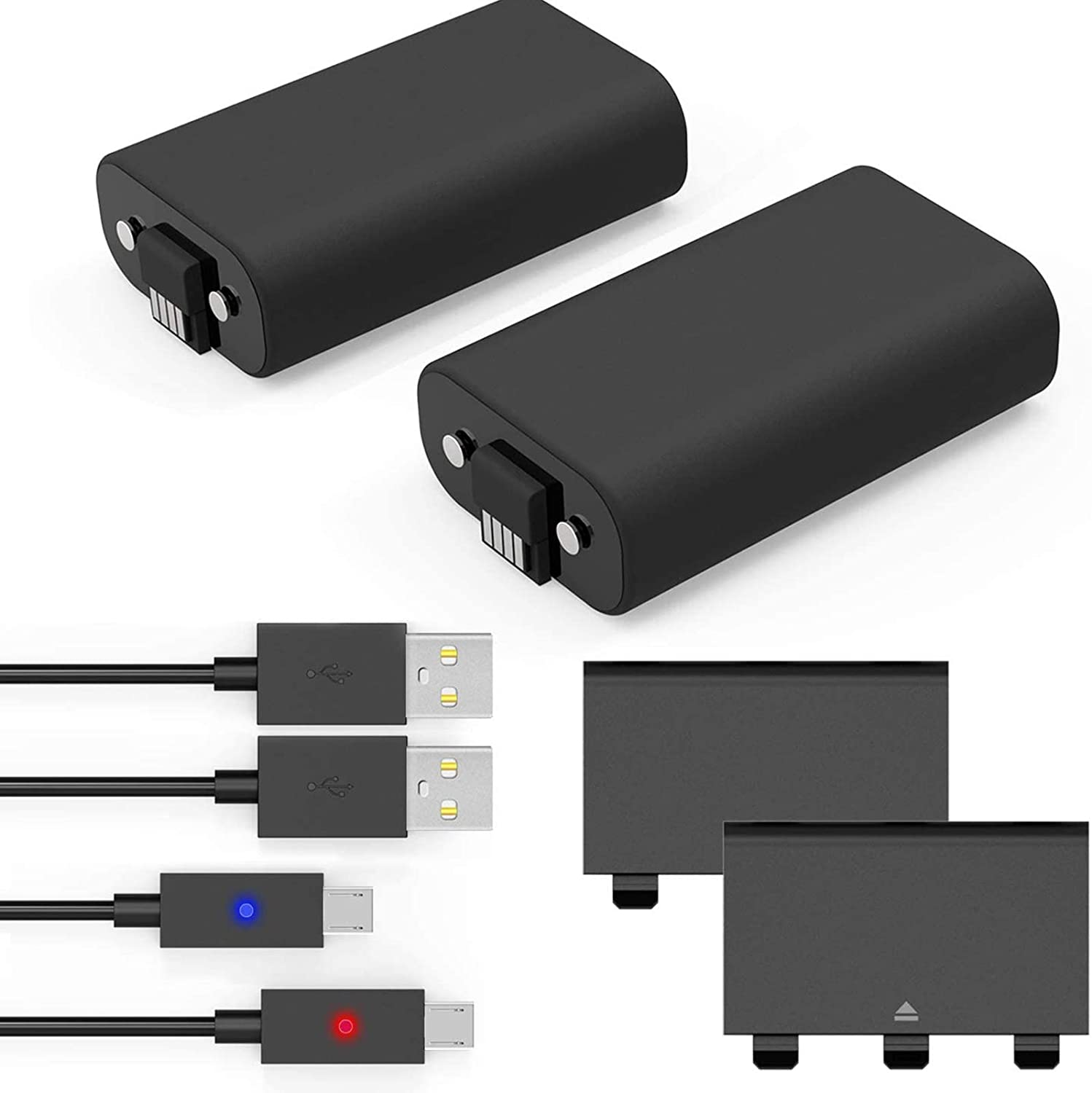 Amazon Com Xbox One Controller Battery Pack Xbox Rechargeable Battery Pack With 2 Pack 1200mah Xbox Battery Pack With Led Indicator 5ft Micro Usb Charging Cable Xbox One Charge And Play For Xbox
