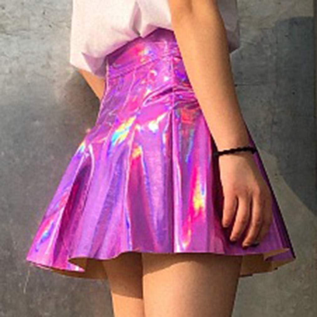 Mxssi Gonna a Pieghe Donna Harajuku Gonne Preppy Laser Mini Cute School Uniformi Donna Jupe PU Leather Kawaii Skirt
