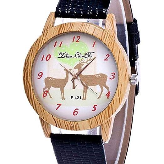 Scpink Mujeres Navidad Elk Patrón Madera Grano Analógico Señoras Relojes de Pulsera Relojes de niña Relojes de Cuero Femeninos (Negro): Amazon.es: Relojes