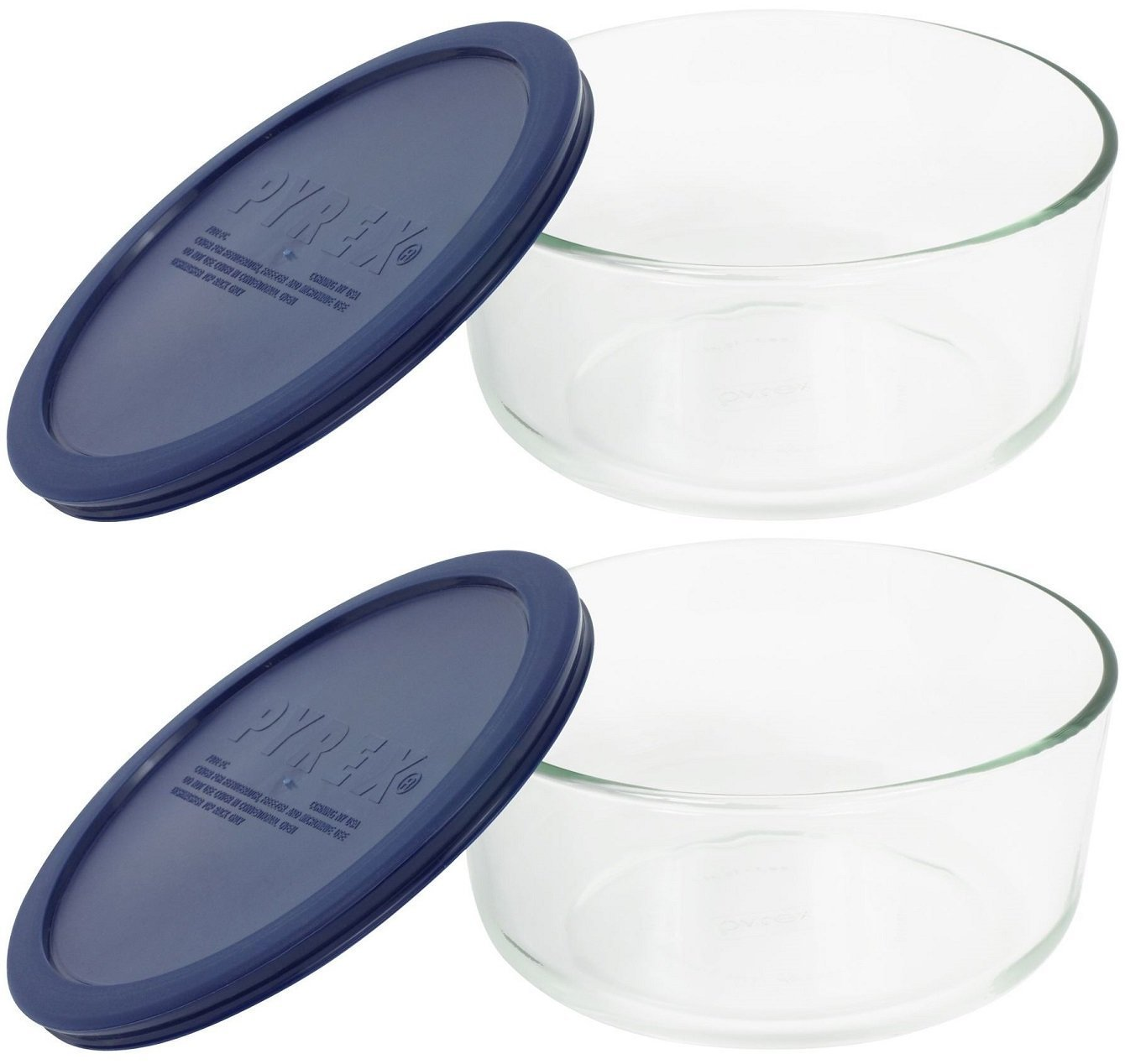 Pyrex Storage 4-Cup Round Dish with Dark Blue Plastic Cover, Clear (Pack of 2 Containers)