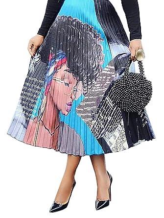 121a16787 Choichic Women's High Waist Pleated Skirts - Casual Summer Multicolor Elastic  Waist Swing A-Line