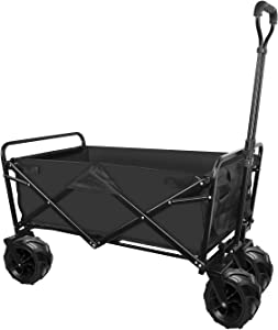 Folding Beach Wagon Cart for Groceries Heavy Duty Collapsible Outdoor Camping Garden Cart with All Terrain Big Wheels & Adjustable Handle