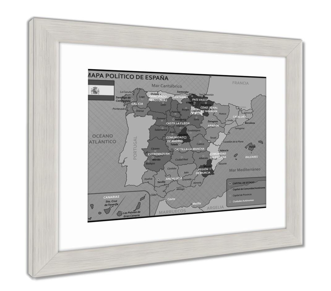 Amazon.com: Ashley Framed Prints Political Map Of Spain With ...