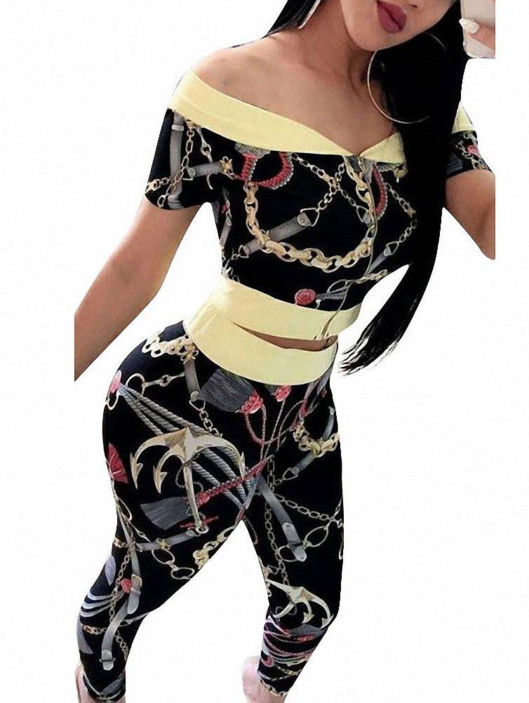 Cutedi Womens Off Shoulder Chain Print Club 2 Piece Outfits Jumpsuits Short Sleeve Crop Top Jacket Long Pants Set Black XL by Cutedi