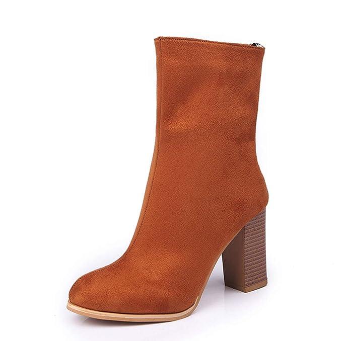 Viernes Negro JiaMeng Botines de tacón Alto Zapatos Navidad Hebilla de Botas de imitación de Calor Mujer Botas Navidad Zapatos tacón Alto: Amazon.es: Ropa y ...