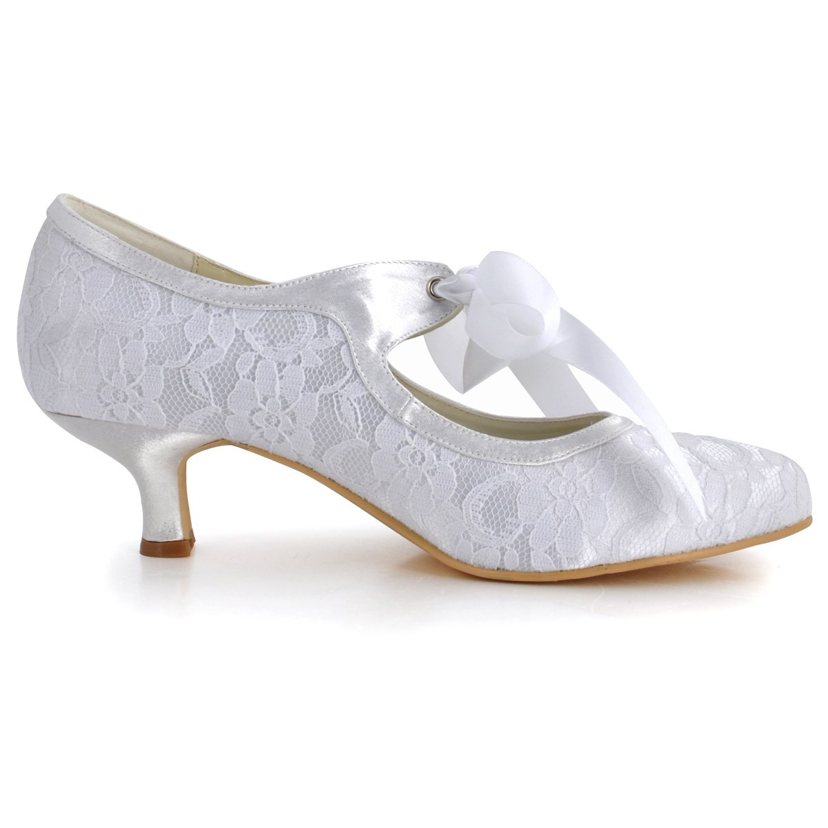 ElegantPark HC1521 Women's Mary Jane Closed Toe Low Heel Pumps Lace Wedding Dress Shoes B00CRT85DG 11 B(M) US|White