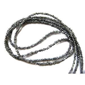 16 Inch Strand, Black Raw Rough Diamonds, Conflict Free Diamond, Natural Rondelle Beads, 1.5mm-3mm Beads
