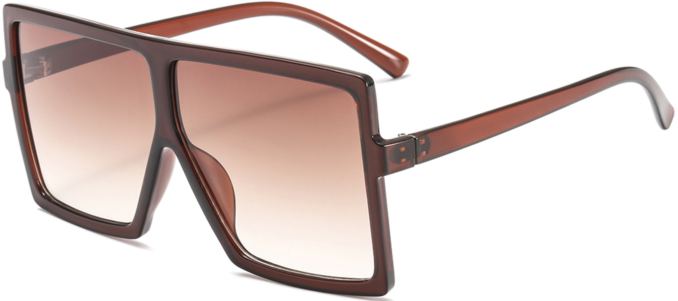 MAOLEN Oversized Square Frame Sunglasses for Womens Polarized Flat Top Shades Sunglasses (brown-brown)