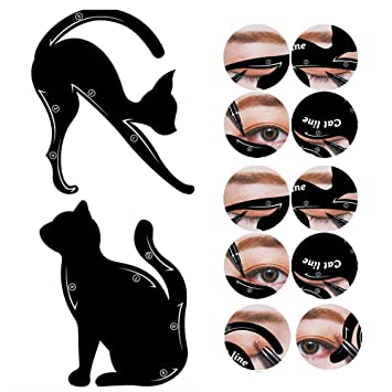 amazon com 2 in 1 cat eyeliner stencil smoky eyeshadow applicators