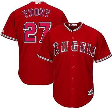 Camisetas de béisbol Personalizadas Personalizadas, Angels No. 27 Mike Trou, Camisa de Jersey MVP del Jardinero: Amazon.es: Deportes y aire libre