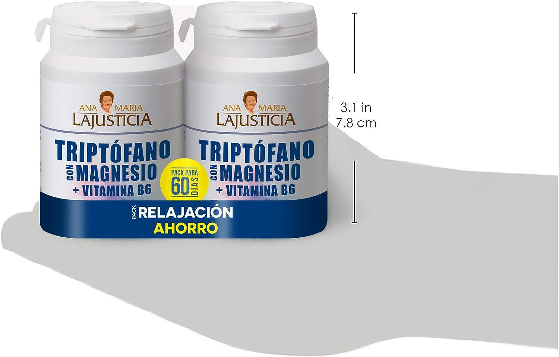Ana Maria Lajusticia – PACK Triptófano con magnesio + VIT B6 – 120 comprimidos. Reduce la ansiedad, el cansancio y regula el reloj interno. Apto para veganos. Envase para 60 días de