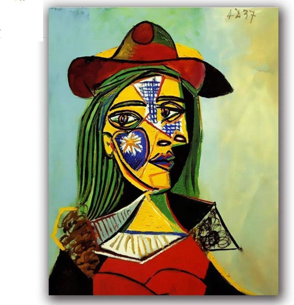 Waofe Colorear bricolaje Pinturas por números Famosos cuadros abstractos de Picasso Cuadros por números Mujer con un sombreroMarco de bricolaje