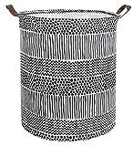 CLOCOR Collapsible Round Storage Bin/Large Storage Basket/Clothes Laundry Hamper/Toy Storage Bin(Black Spots)