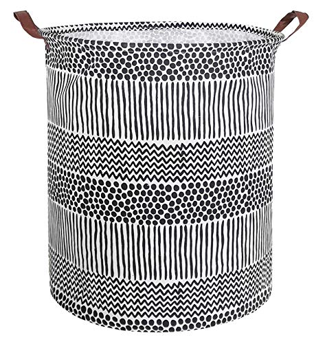 (CLOCOR Collapsible Round Storage Bin/Large Storage Basket/Clothes Laundry Hamper/Toy Storage Bin(Black Spots) )