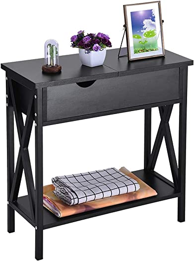 End Table, Kimanli Simple Flip Double Storage Bedside Table Bedroom Coffee Table Telephone Table with Locker