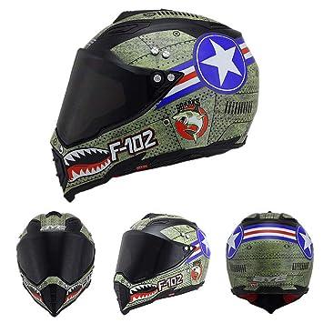 Oztklife Casco Moto Full Face Casco Moto Visera Doble Parasol para Hombre Adulto Mujer,M