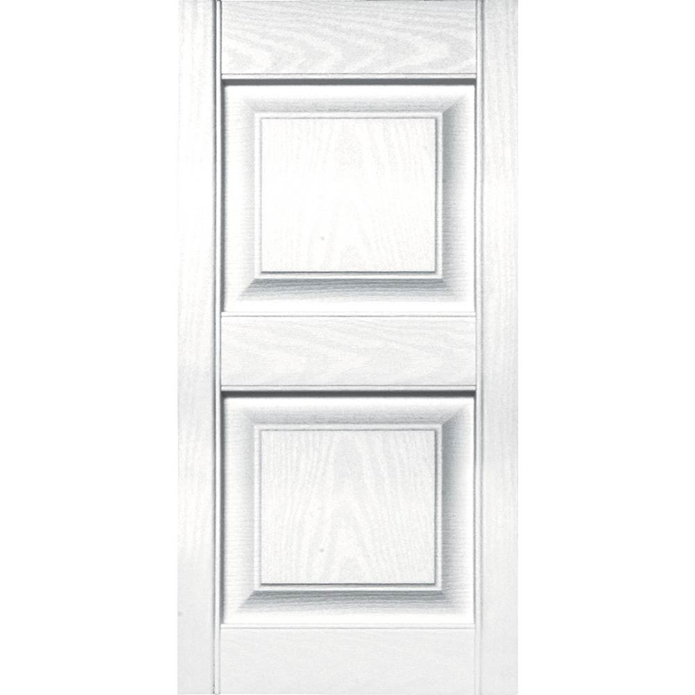 Builders Edge 15 in. Vinyl Raised Panel Shutters in White - Set of 2 (14.75 in. W x 1 in. D x 46.75 in. H (9.06 lbs.))