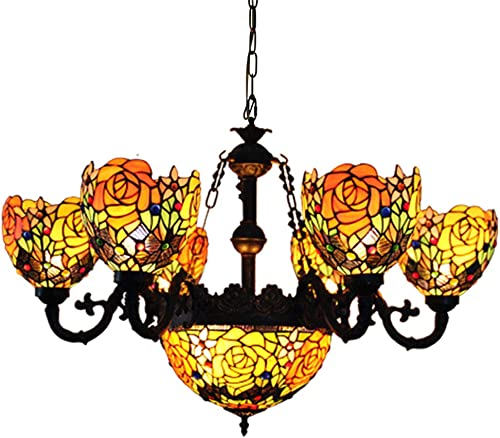 Makenier Vintage Tiffany Style Stained Glass Deep-Yellow Rose Flower 6 Arms Chandelier
