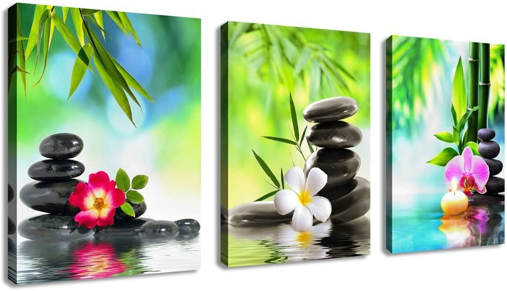 """Zen Wall Art Canvas Art Decor SPA Stone Green Bamboo Pink Waterlily Frangipani Pictures Modern Canvas Artwork Contemporary Spa Zen for Home Office Kitchen Bathroom Framed Green 12"""" x 16"""" 3 Pieces"""