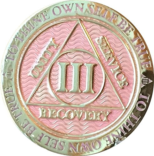 Recoverychip 3 Year AA Medallion Reflex Pink Gold Plated Alcoholics Anonymous Chip
