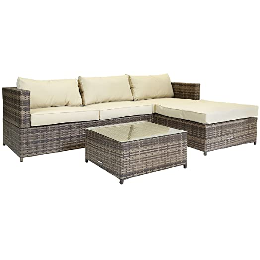 charles bentley l shaped 3 seater rattan outdoor garden conservatory patio furniture lounge set with - Rattan Garden Furniture L Shape