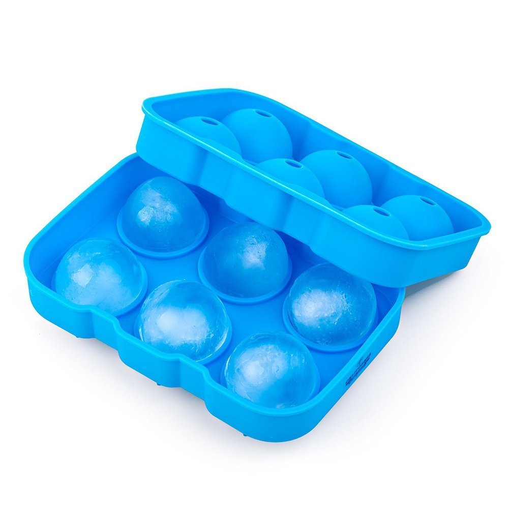 Silicone Ice Sphere Mold-Flexible Silicone Ice Ball Maker Whiskey Tray Mold Makes 4.5CM 6 Cool Spheres for Luxury Cocktails-Sky blue CMS