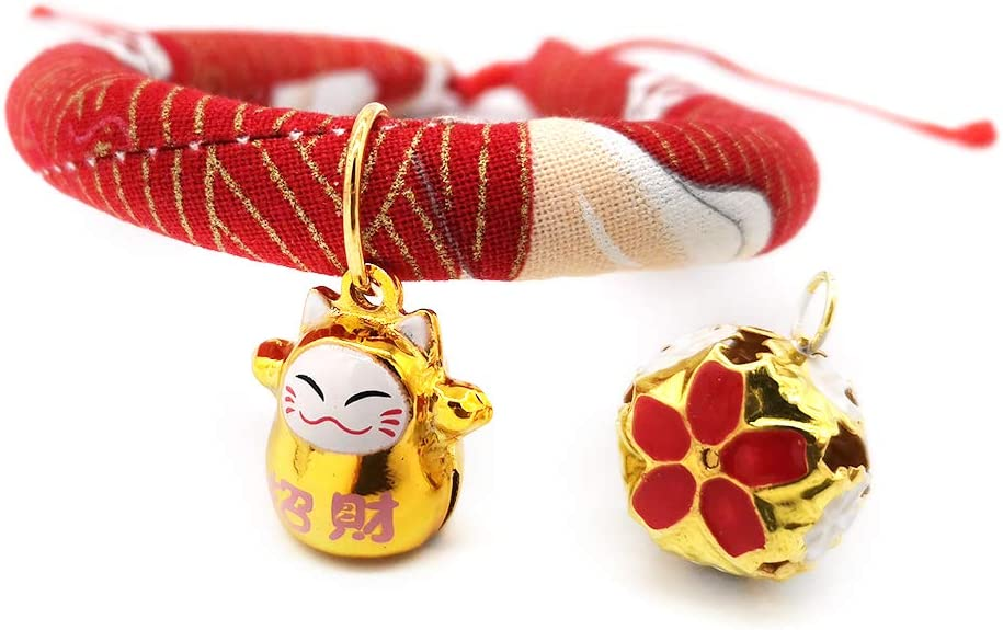 Adjustable Cat Collars with Fortune JOYPAWS Japanese Chirimen Kimono Cat Collar with Bell for Kitten Puppy Pet